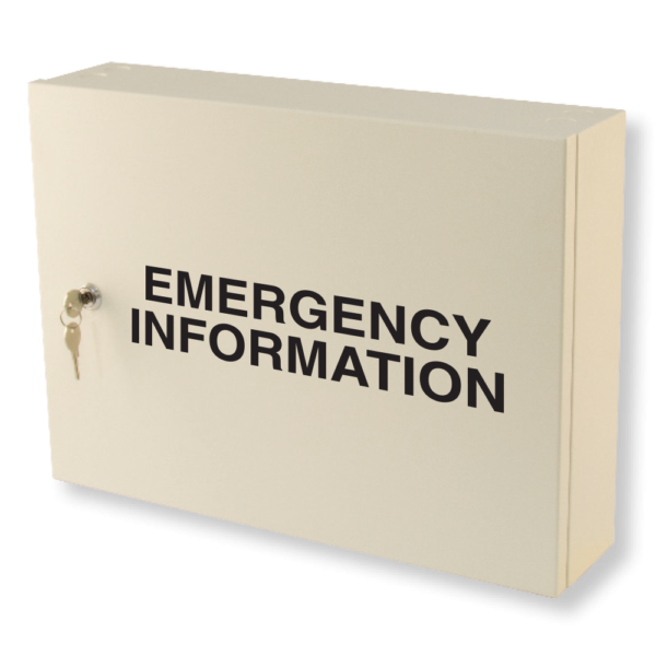 emergency information cabinet milk white