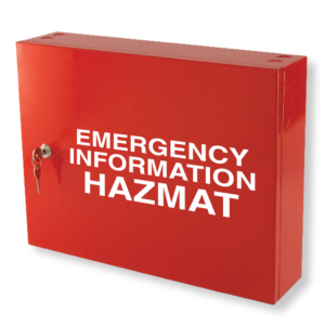 emergency information hazmat cabinet red