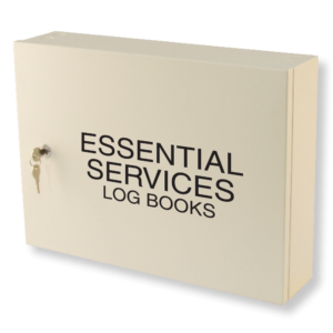 essential services log book cabinet milk white